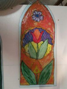 Fensterscheibe mit floralem Motiv