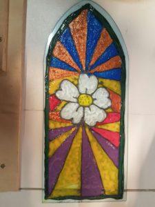 Fensterscheibe mit mittelalterlichem Motiv